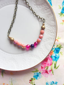 Pretty Matte Gold Pink-Coral, magenta, and violet Czech Glass Bead Necklace.