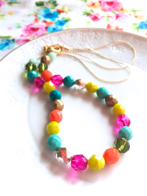 Cheery Spring and Summer Czech Glass Beaded Necklace.