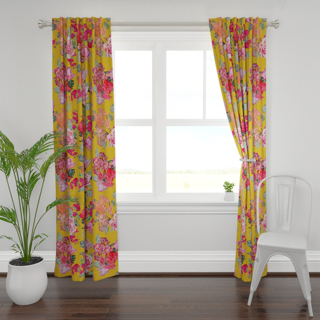 Antique Roses Window Curtains // Mustard Yellow