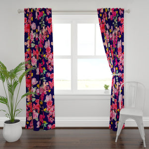 Antique Roses Window Curtains // Dark Blue