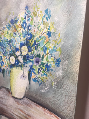 Pretty Blue and and White Floral Bouquet Painting