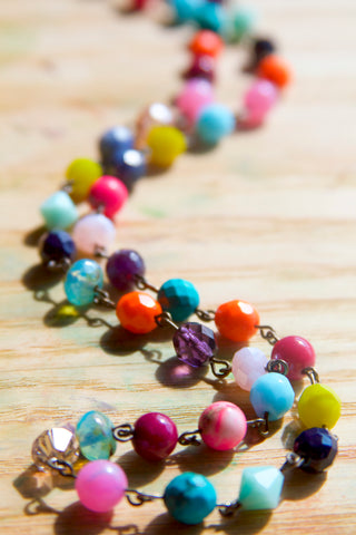 Colorful Czech Glass Bead Chain Necklace in brights + pastels.