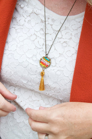 Bohemian Beaded Hoop Necklace with Tassel. Customizable!