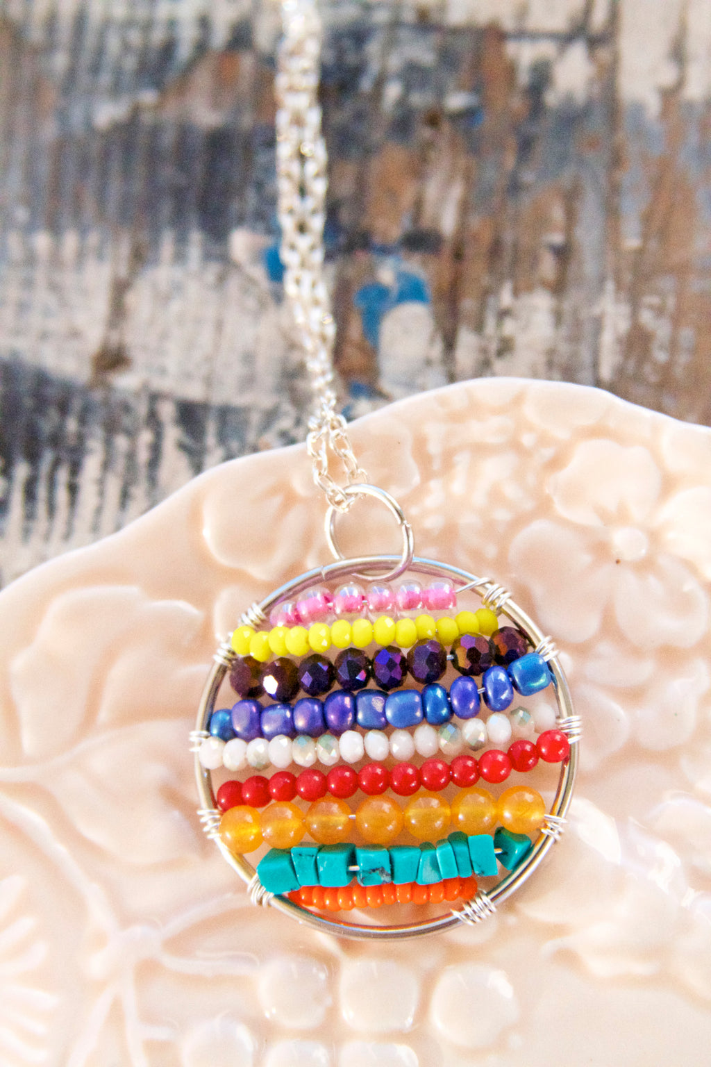 Custom Handwoven Colorful Bohemian Beaded Hoop Necklace.