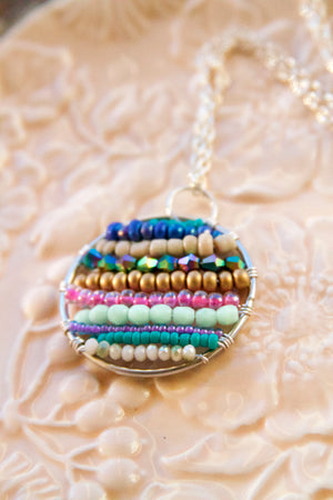 Colorful Custom Beaded Boho Hoop Necklace in pretty autumn-winter palette.
