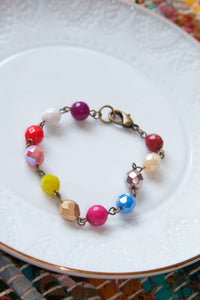 Bohemian Colorful Czech Glass / Gemstone Bead Chain Bracelet