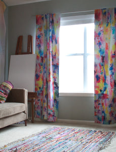 Colorful Neon + Pastel Abstract Painting Art Curtains.