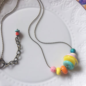 Handcrafted Lampwork glass bead and colorful Czech glass necklace.