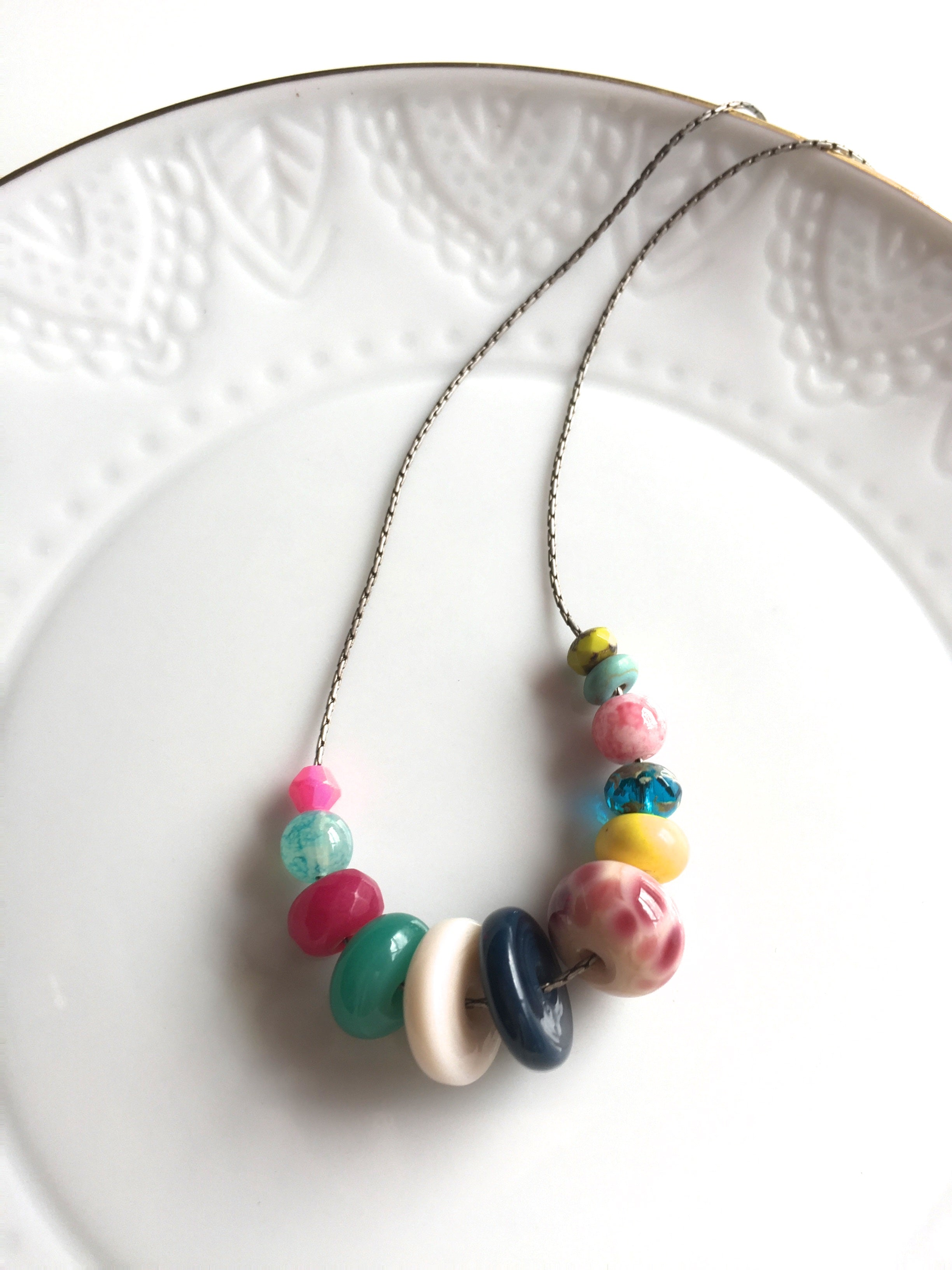 Handcrafted Colorful Lamp work glass bead and Czech glass necklace.