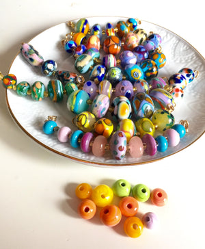 Set of 6 Handcrafted Lampwork Glass Beads in pretty mix of bold and bright dots.