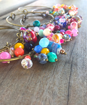 Colorful Summer Sunset Lampwork and Czech Glass Beaded Charm Bracelet