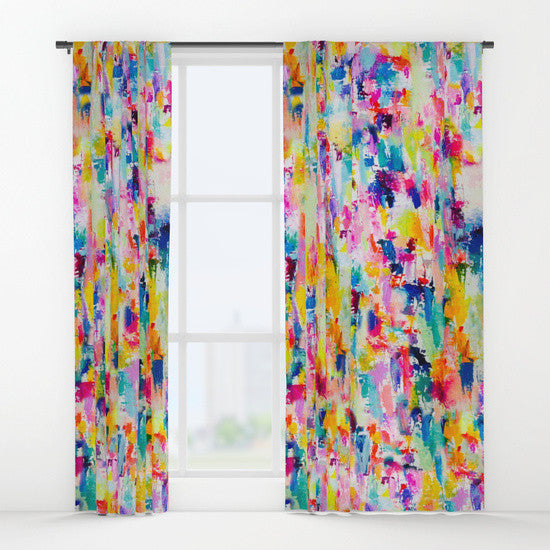 Colorful Neon + Pastel Abstract Painting Art Curtains. Add some fab art and bright color to any room with these vibrant window treatments.