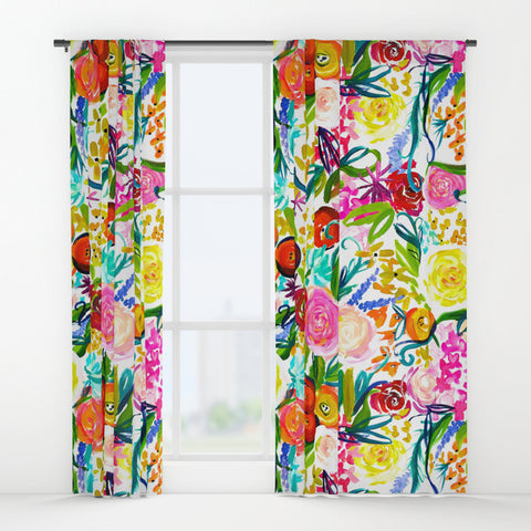 Colorful 'Neon Summer Floral' Painting Print Art Curtains.