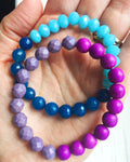 Colorful, fun czech glass bead colorblock stretchy bracelet set.