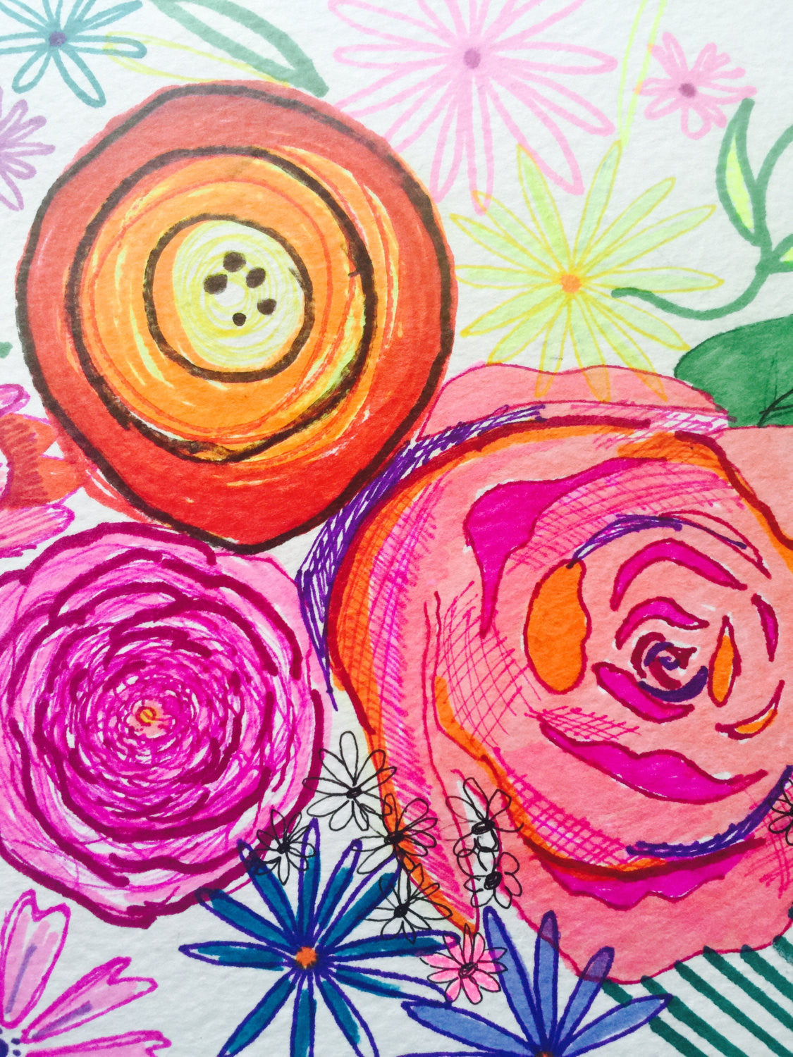 Colorful neon bright summer inspired floral watercolor + ink drawing. Unique multimedia piece with bright florals and sharp lines.