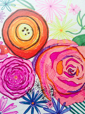Colorful neon bright summer inspired floral watercolor + ink drawing.