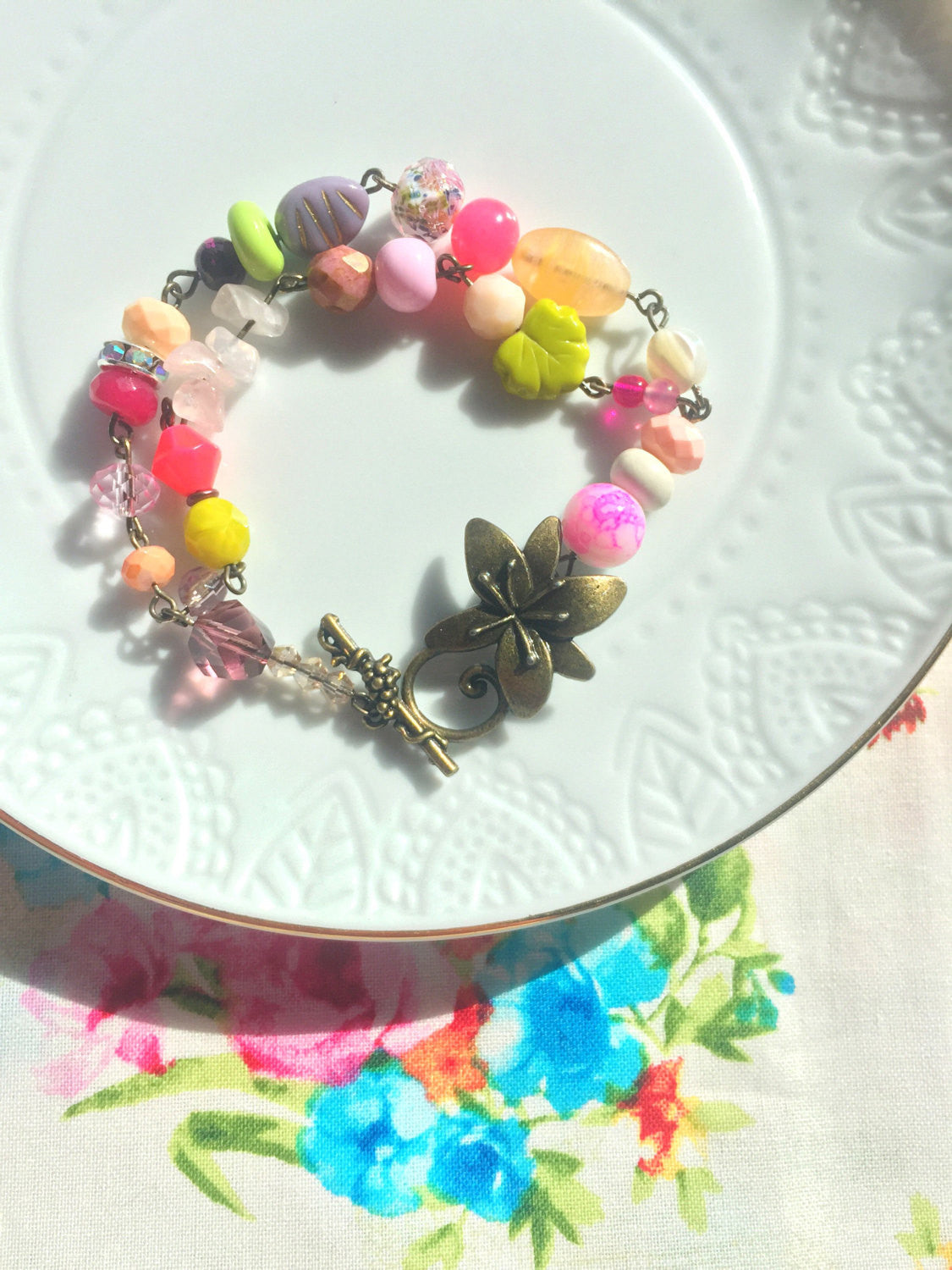 Pretty Bright Spring Inspired Beaded Bracelet with Quirky Floral Clasp.