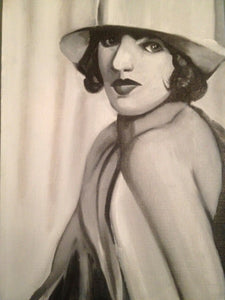 Woman with White Hat, Oil on Canvas. Black and White. Small Painting.