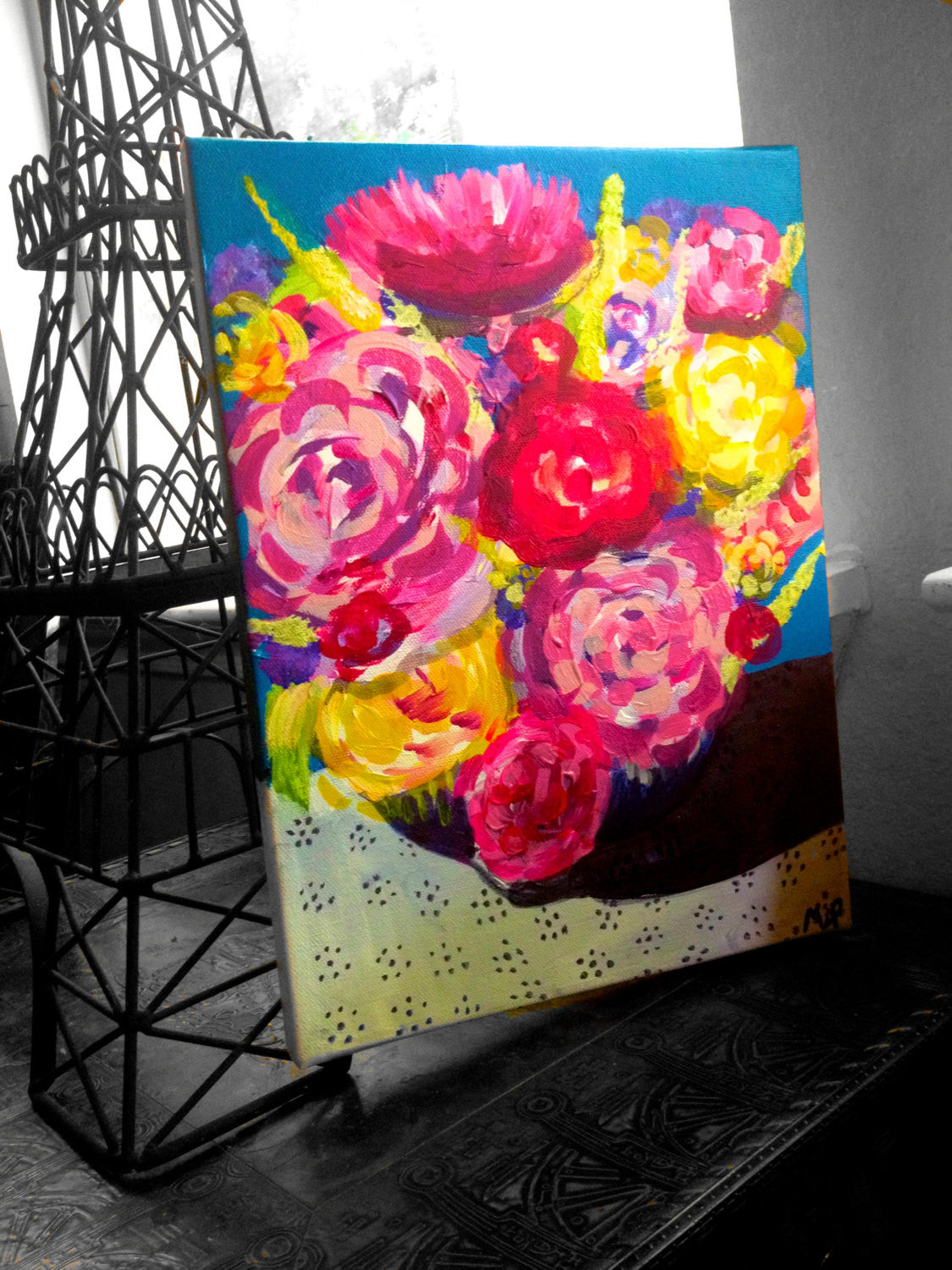 Original Floral Arrangement Painting. Acrylic on Canvas. Beautiful neon, bright tones of hot pink, orange, yellow add warmth to any day.