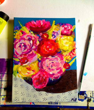 Original Floral Arrangement Painting. Acrylic on Canvas.