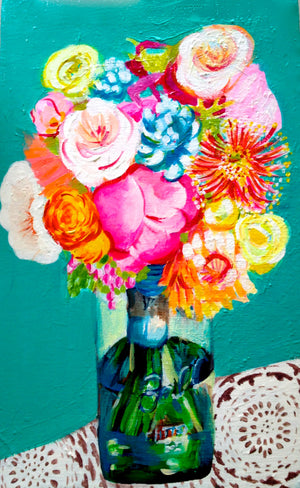 Original Mason Jar bouquet Painting. Acrylic on Canvas.