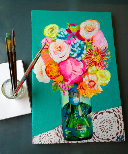 Original Mason Jar bouquet Painting. Acrylic on Canvas. Beautiful neon, bright tones of hot pink, turquoise, yellows are perfect for summer.