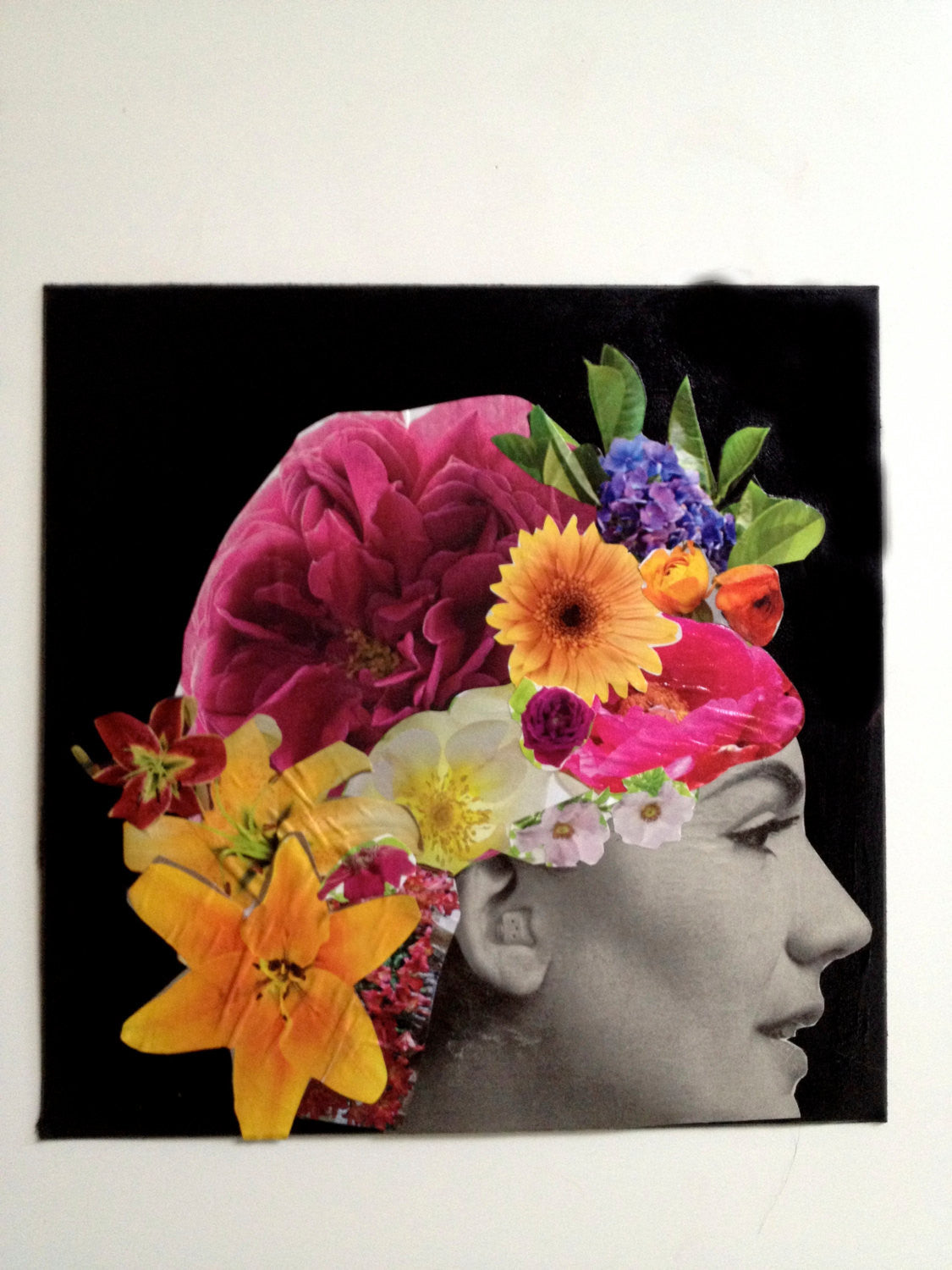 Original Colorful Collage, Woman With Flowers in Hair. Black and White Vintage Model with Colorful Floral Collage Headpiece. OOAK artwork
