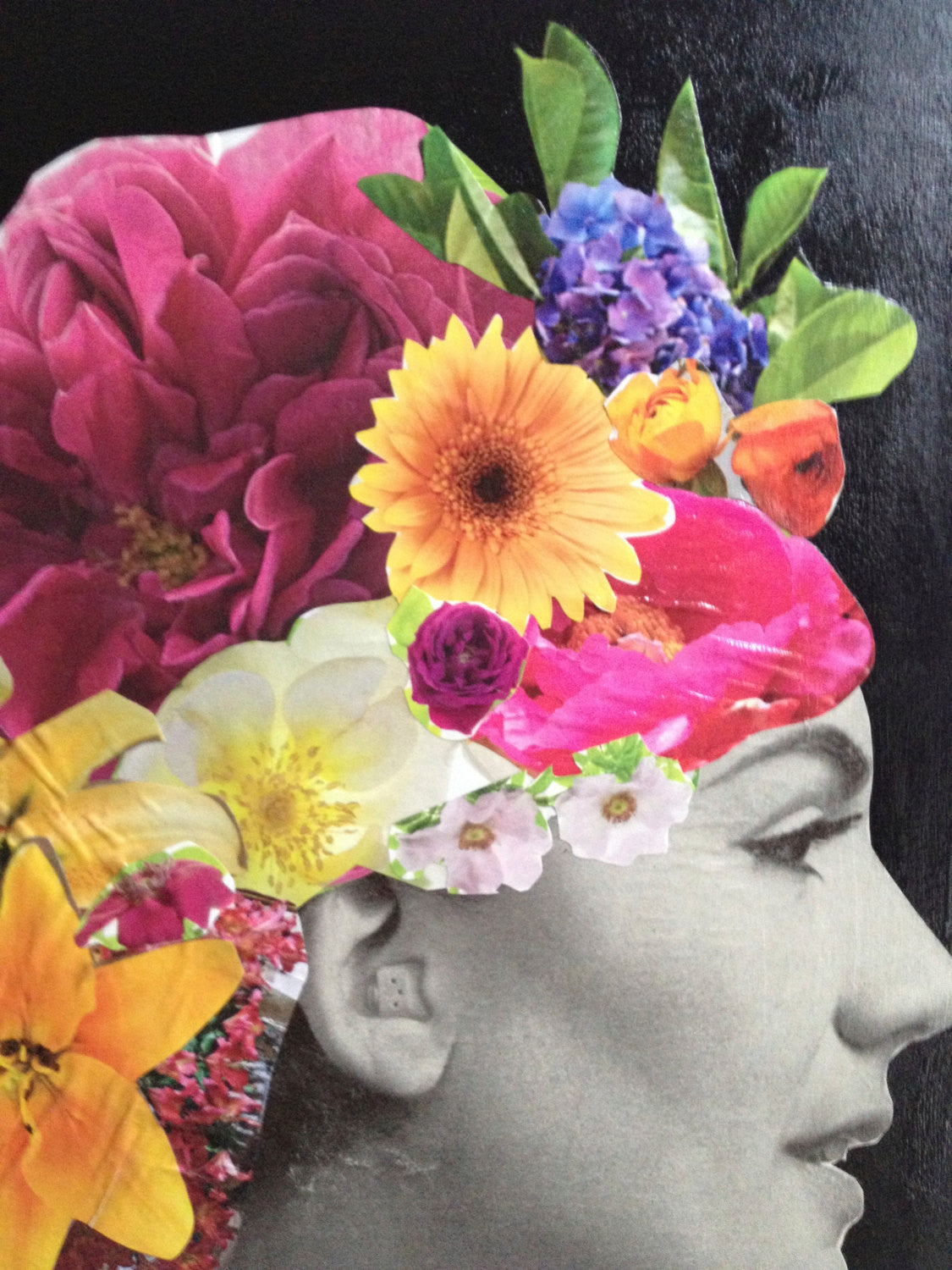 Original Colorful Collage, Woman With Flowers in Hair.