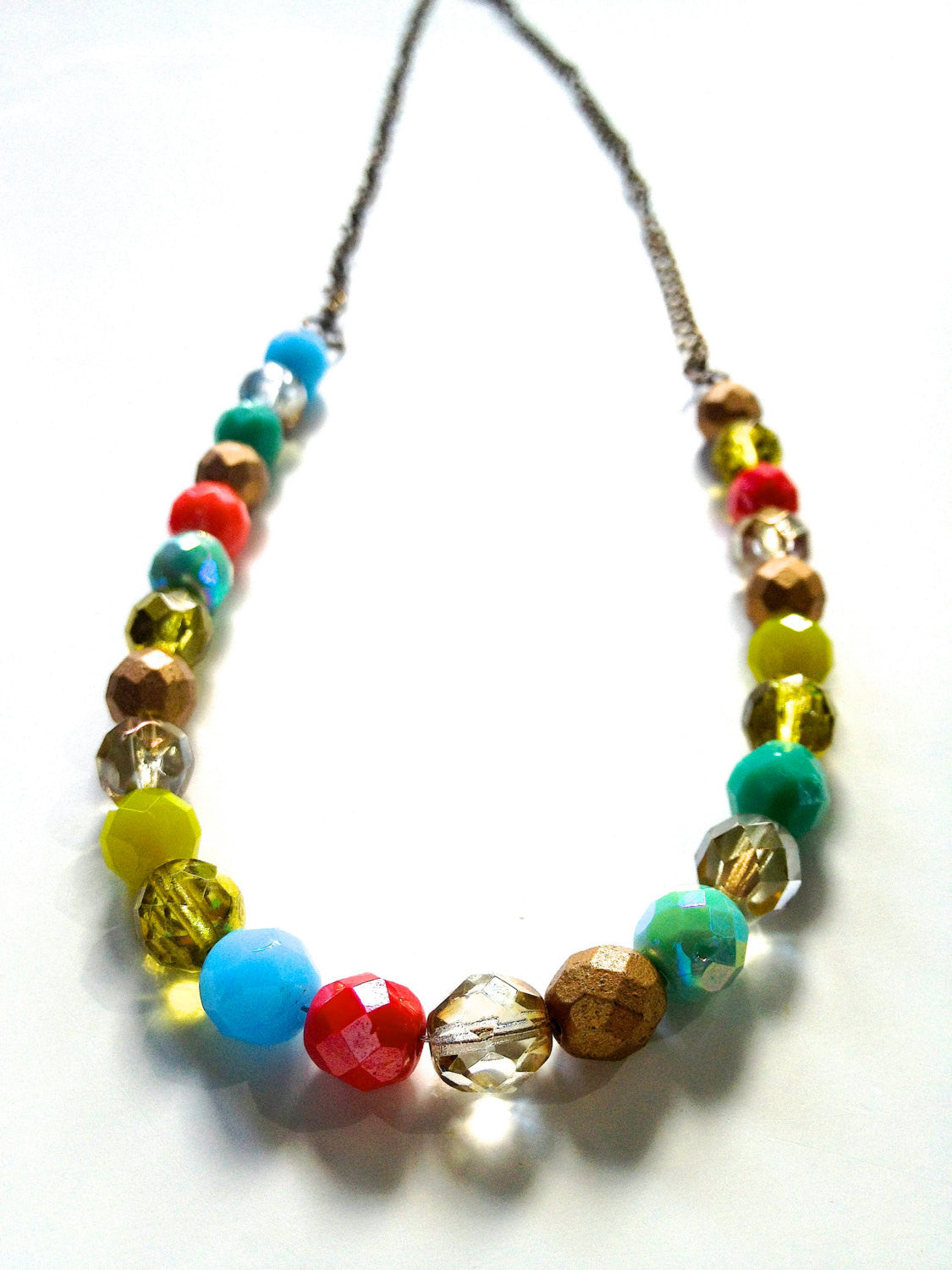 Bright Cheery Neon Spring Colors Czech Glass Beaded Necklace.