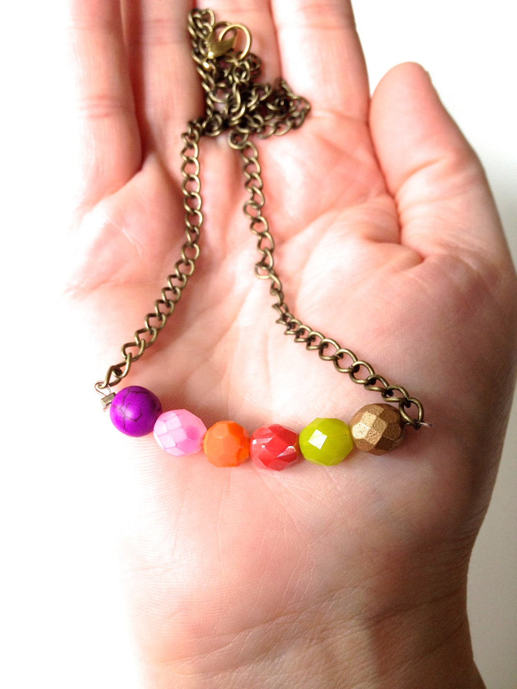 Beautiful Autumn Colors Czech Glass Beaded Necklace. - Customizable