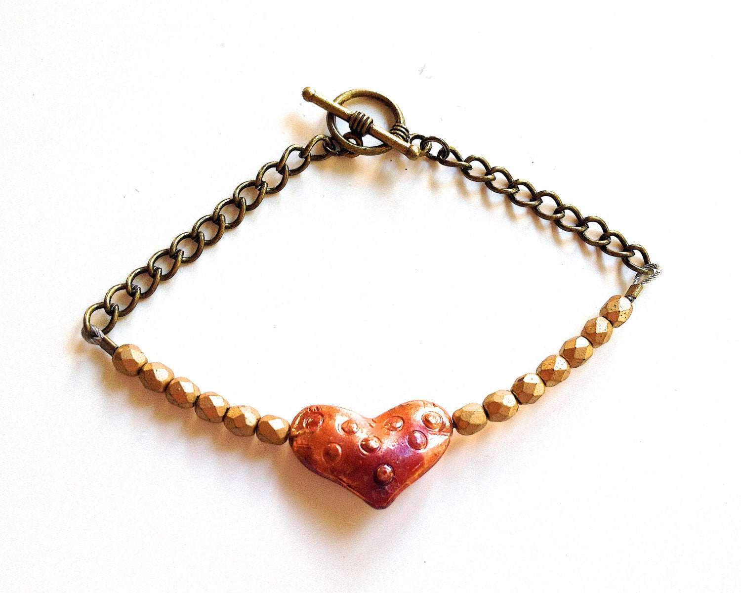 Beautiful Copper Heart and Matte Gold Czech Glass Beaded Bracelet. Simple, Classic, ElegantGgift for Mother's Day, Anniversary or Birthday.