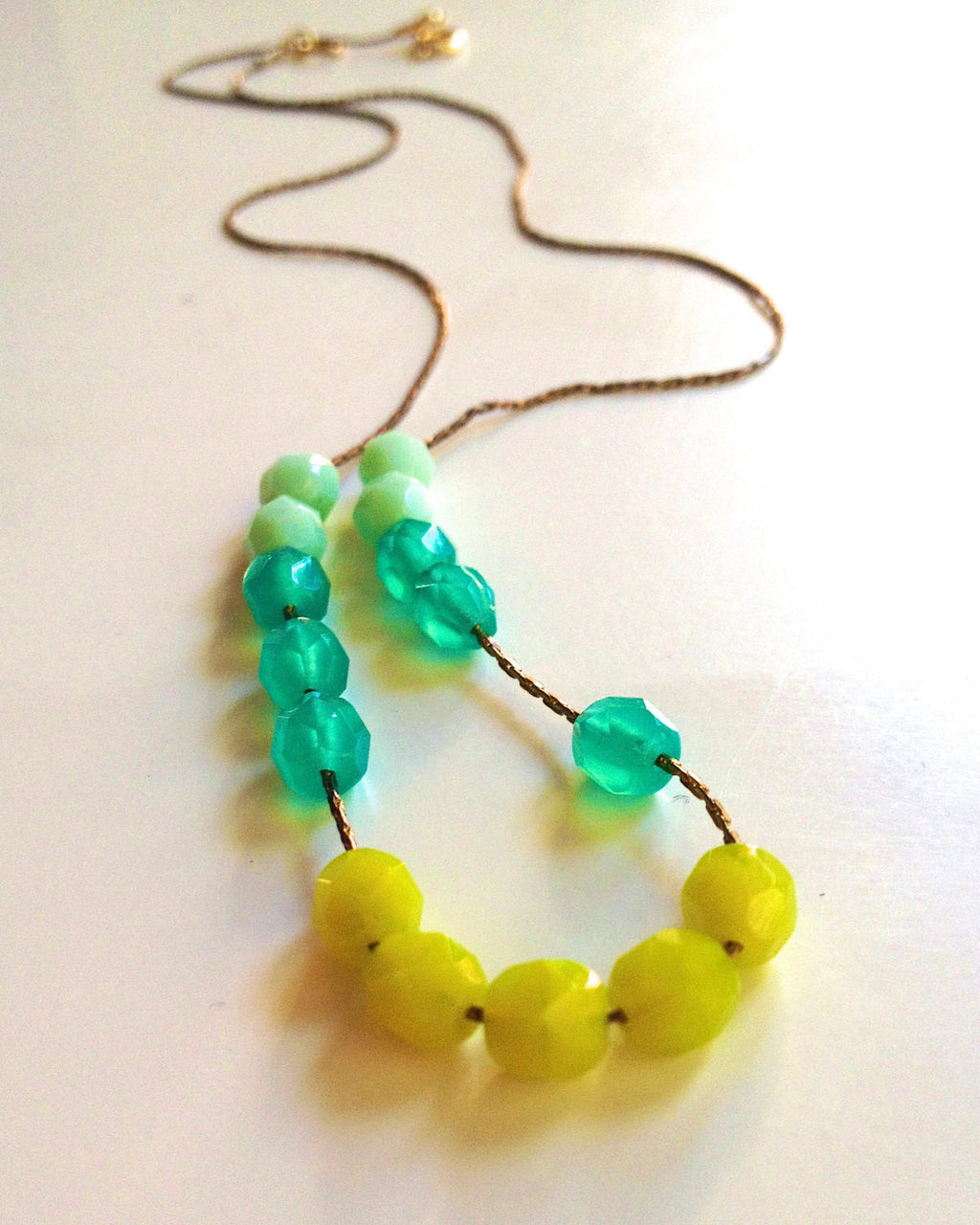 Cute  Mint/ Chartruese/ Teal Colorblock Czech Glass bead Necklace