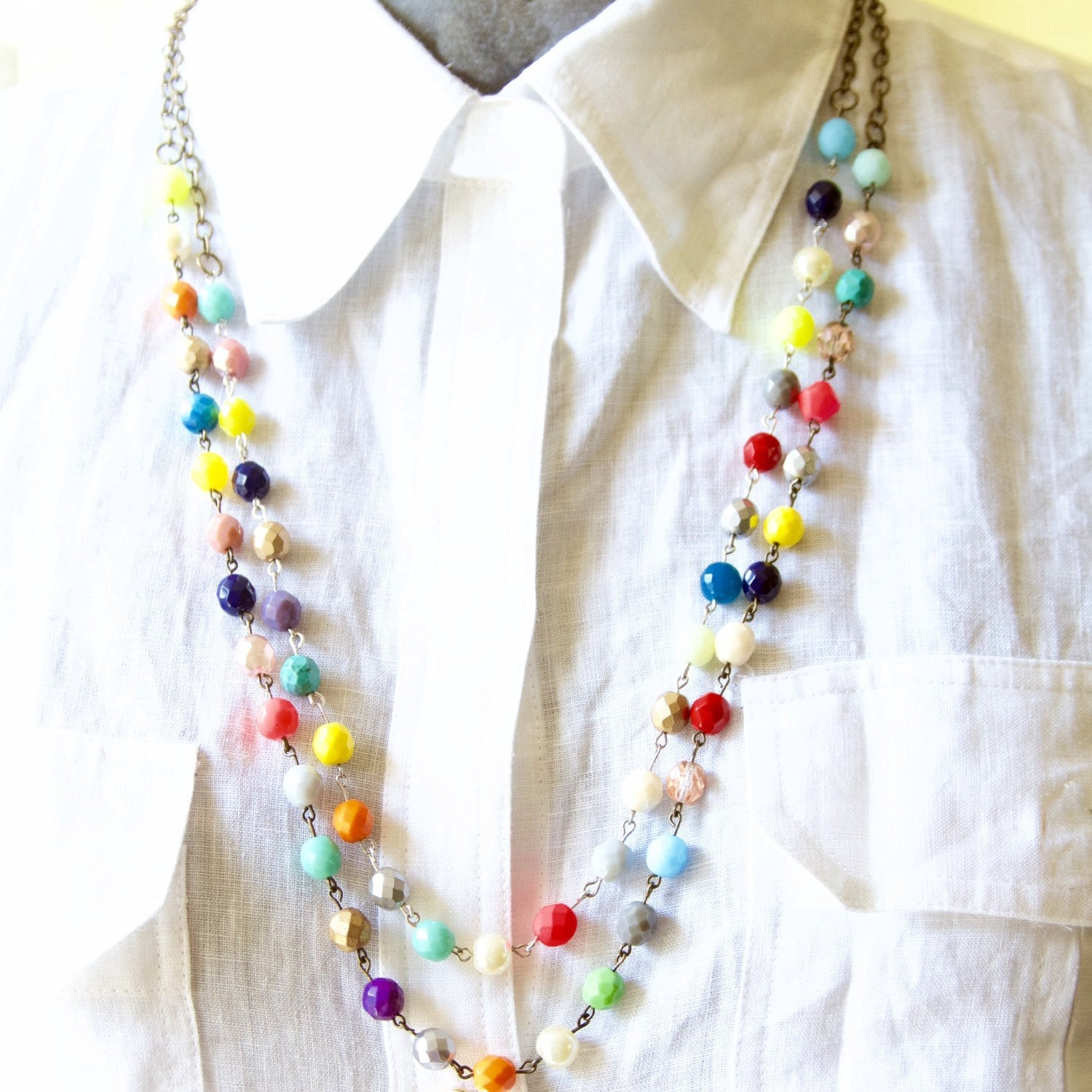 Double Strand Czech Glass Colorful Bead Chain Necklace.