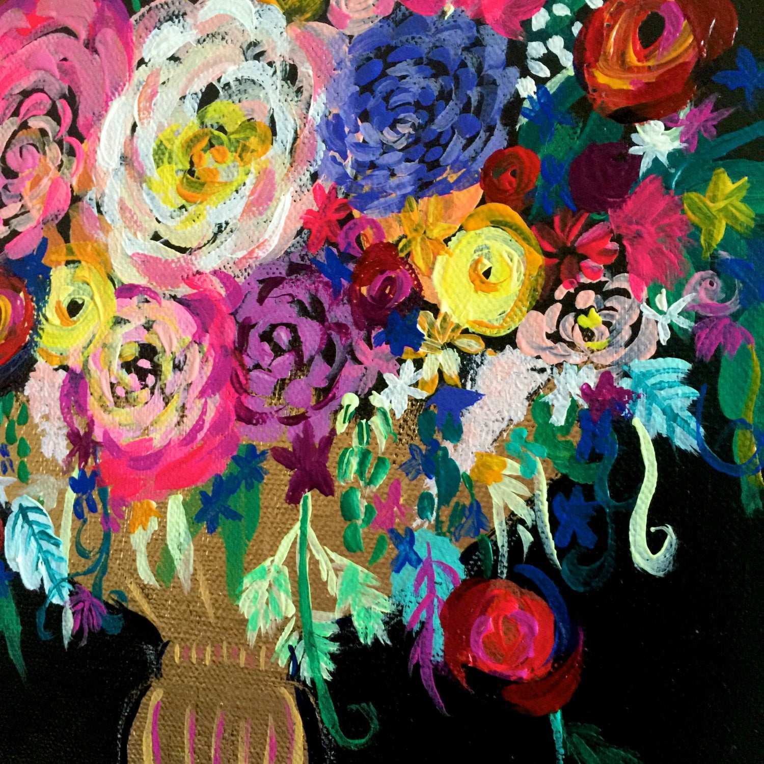 Colorful Floral Bouquet with black background painting original painting