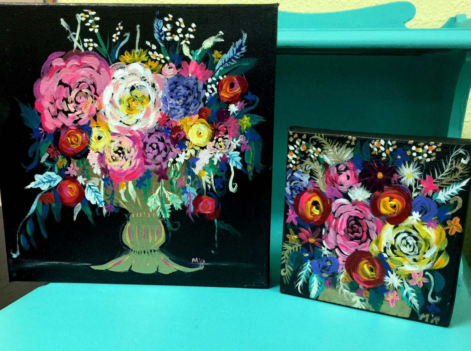 Colorful Floral Bouquet With Black Background Painting Original