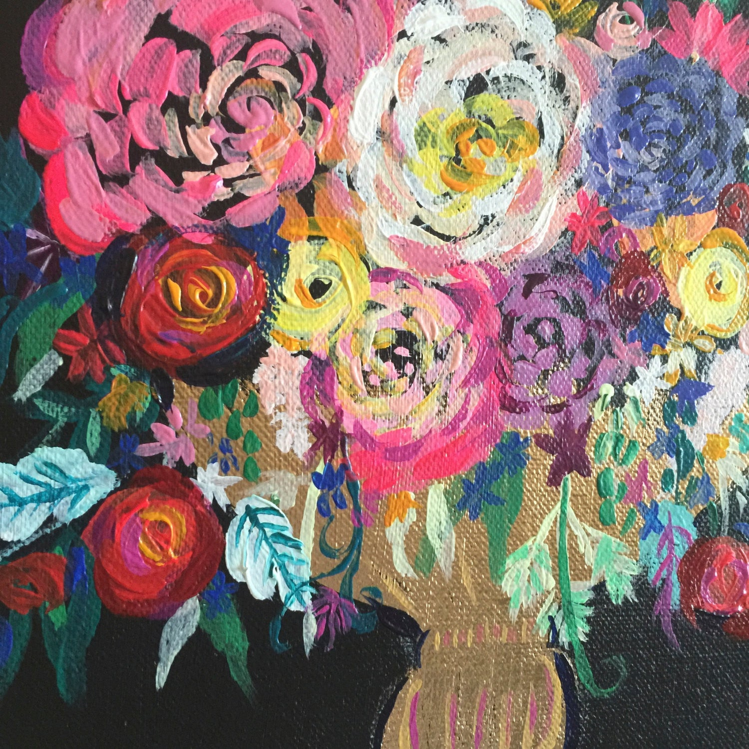 Colorful Floral Bouquet with black background painting. Bold bright colors make up this lovely group of flowers in a small golden vessel.