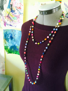 Double Strand colorful handmade Czech Glass Beaded Necklace set.