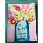 Colorful floral bouquet in turquoise mason jar watercolor .