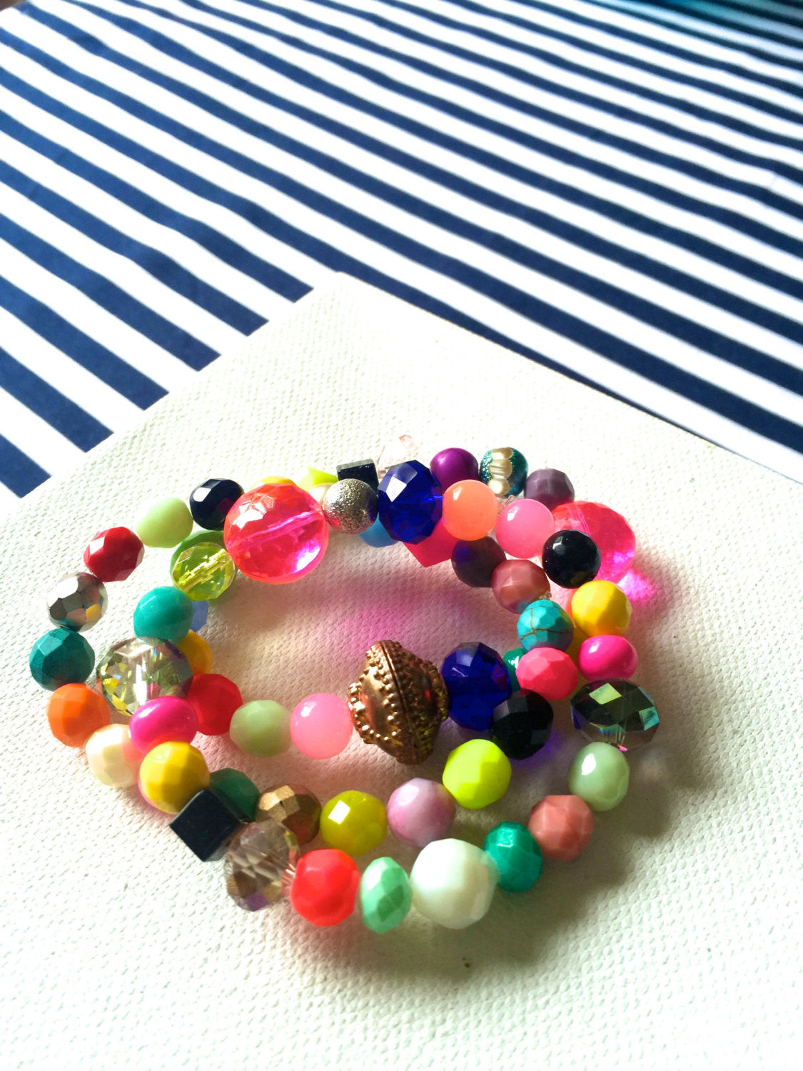 Colorful, fun multicolor czech glass bead, agate stone, and pearl bead bracelet. Three customizable elastic bands, feel free to choose color