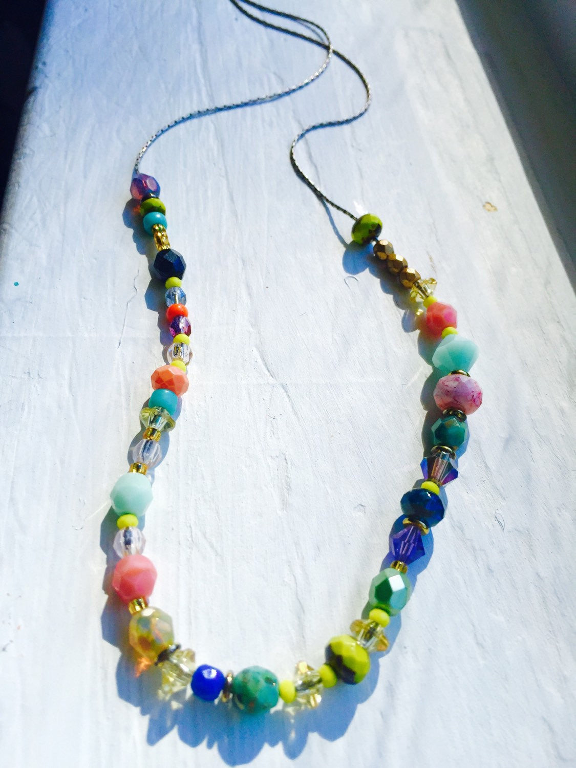 Colorful and Unique Glass Beaded Necklace