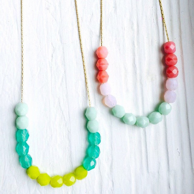 Cute Colorblock Czech Glass bead Necklace.  Pick your Fav color!