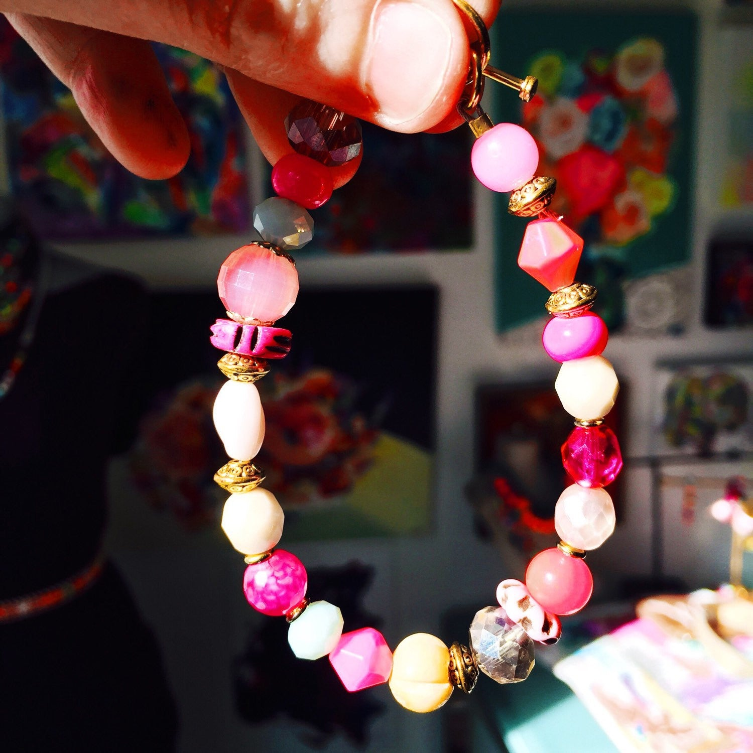 Hot pink, gold, and mint beaded bracelet