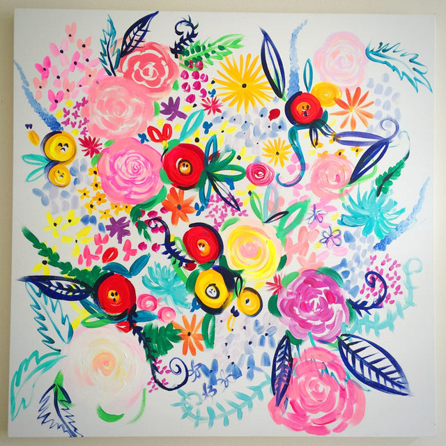 "Colorful and Fun Floral Oil Painting. Original 36""X36"""" Canvas Painting with bright, beautiful abstract florals in fresh vibrant colors."
