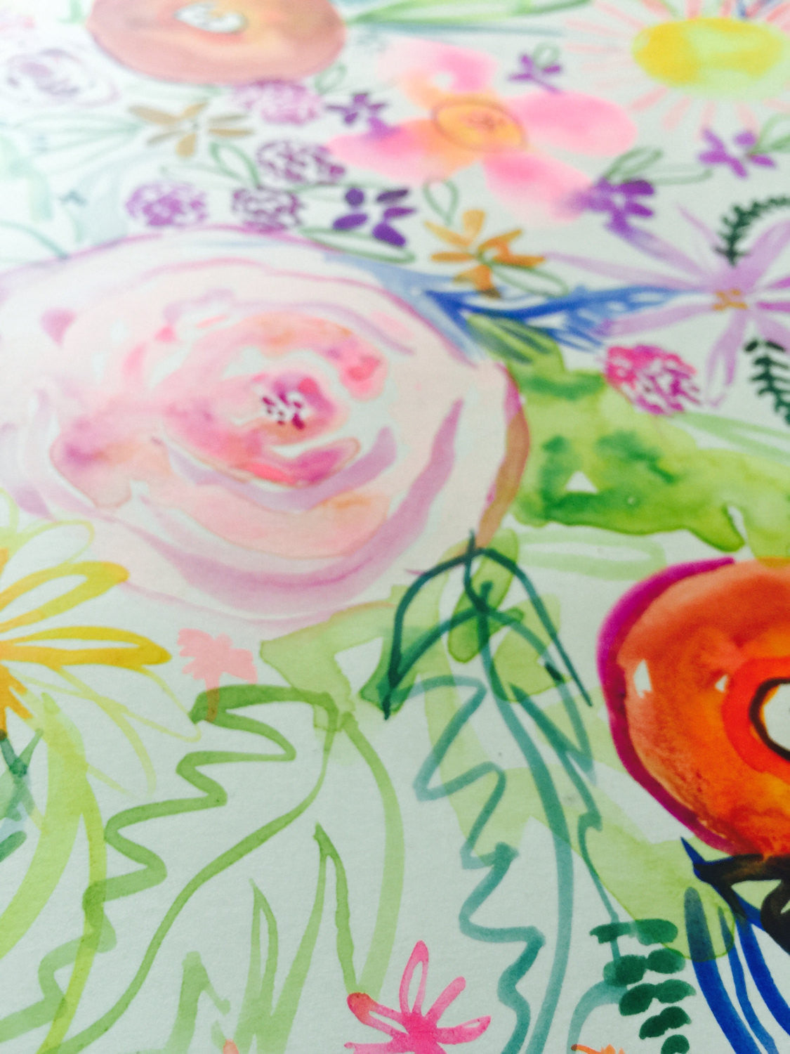 Colorful handcrafted summer inspired floral watercolor and gouache painting. Unique painting in bright colors.