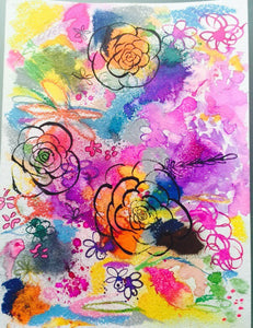 Neon bright summer inspired floral watercolor and gouache original painting.