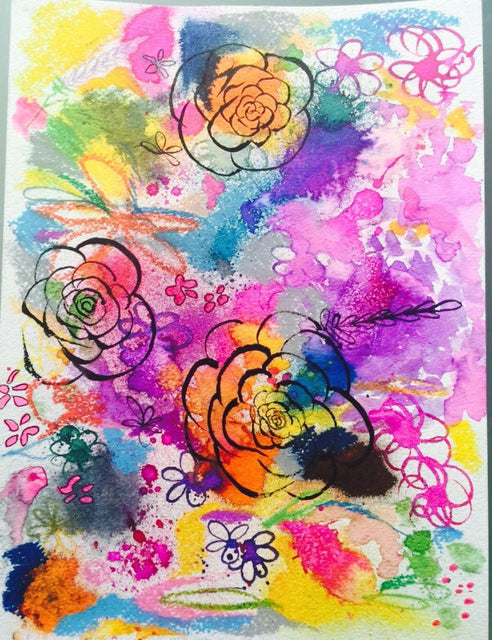 Colorful neon bright summer inspired floral watercolor and gouache painting. Unique painting with bright florals