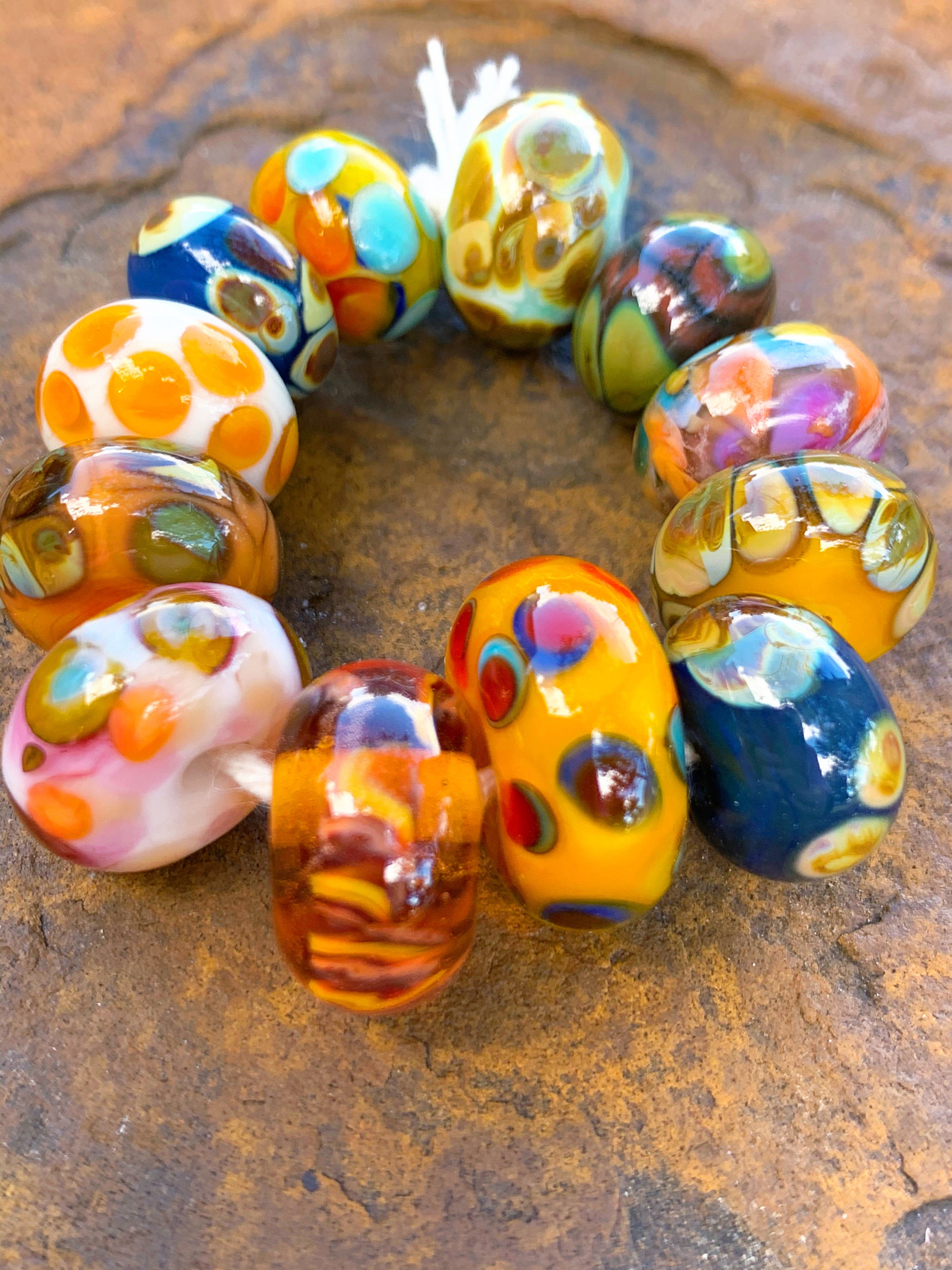 """Vegas Sunset"" colorful glass 12 bead set."