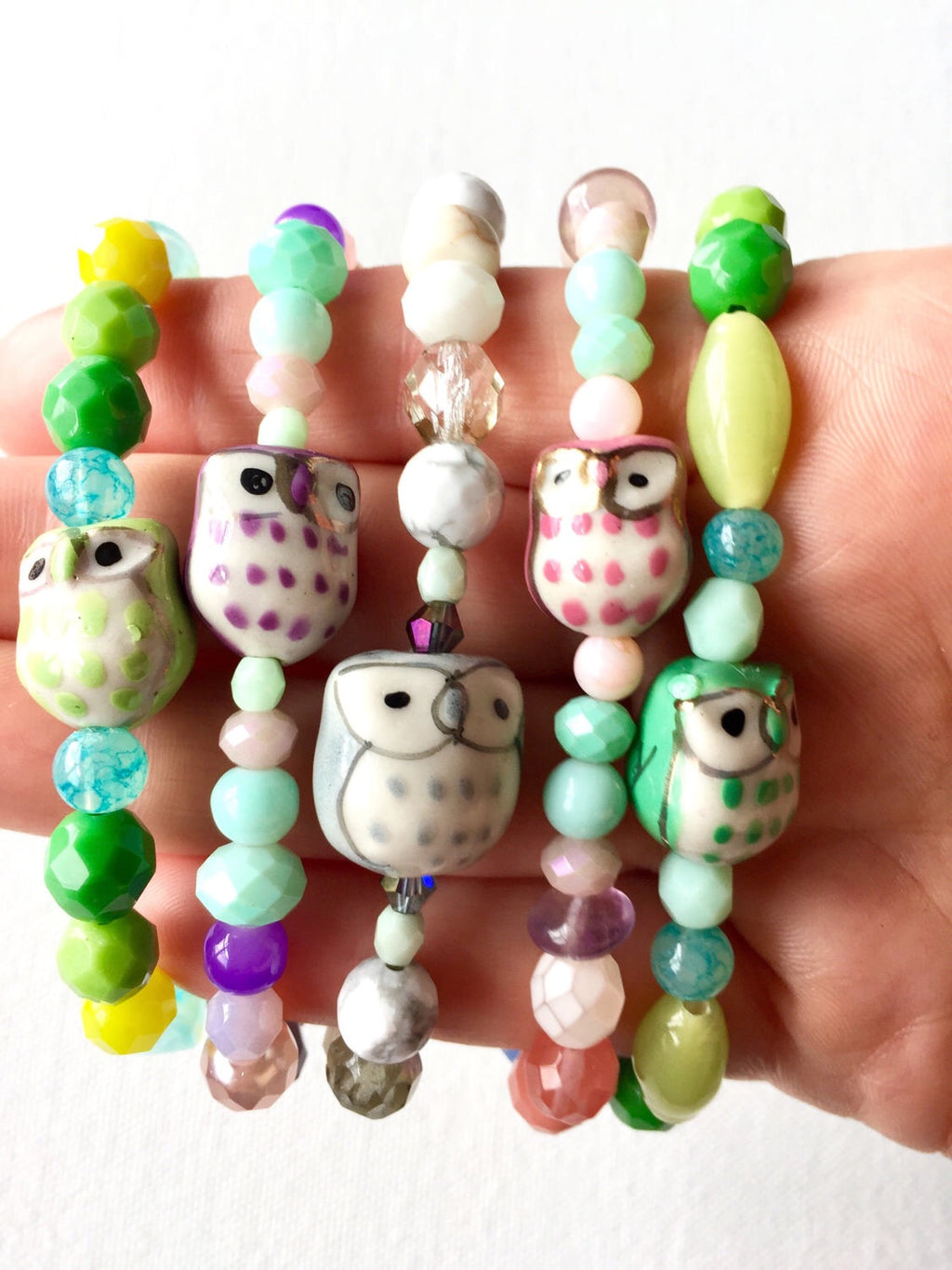 Colorful Owl Beaded Bracelet