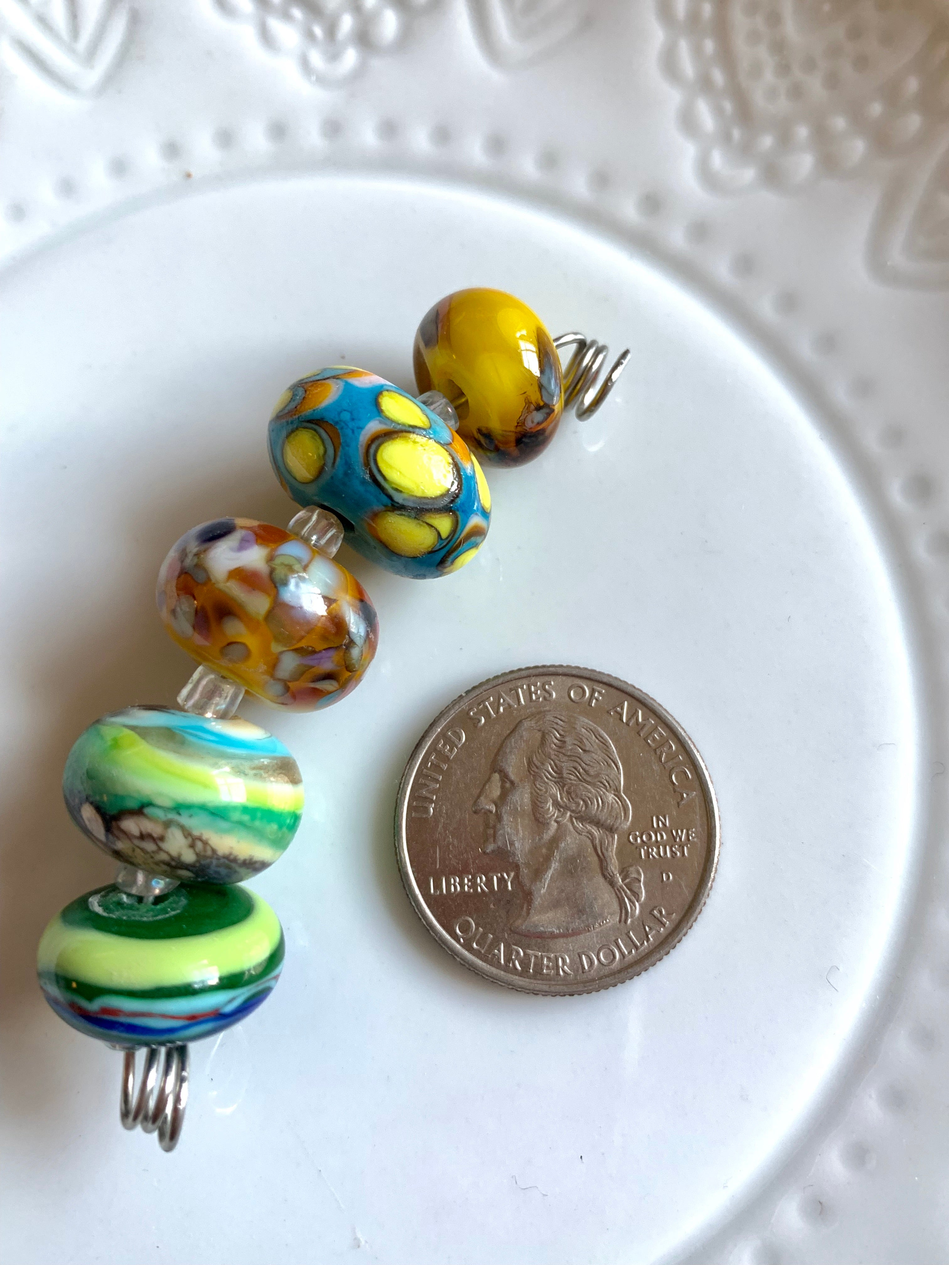 Set of 5 summery lampwork glass beads in yellows, teal, blues, and greens