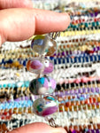 "Set of 4 ""watercolor"" glass beads with brightly colored spots and swirls"